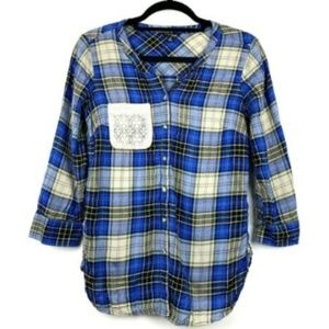 Lucky Brand Plaid 3/4 Sleeve Button Down Shirt